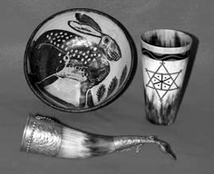 Hare Bowl and Horns    Horn cups are favored by Cornish Wise Folk for use within the rite of the Troyl Hood or 'bewitched ritual feast'. The hare is the familiar spirit of the south-earth virtues.