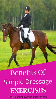 Find out the benefits of doing simple dressage exercises. Then after you know the benefits of these horseback riding exercises the post lists 5 different easy exercises you can practice with your horse to get these benefits. Horse World, Show Jumping, Horseback Riding, Easy Workouts, Dressage, Things That Bounce, Exercises, Horses, Simple