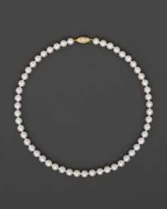 Cultured Akoya 7mm Pearl Strand Necklace in 14K Yellow Gold, 16"