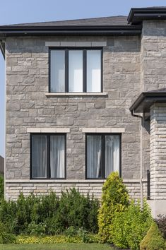 The mixture of the Capitale and Liano stone is amazing! Contemporary Classic, Lugano, Classic Style, Brick, Exterior, Homes, Windows, Canning, Stone