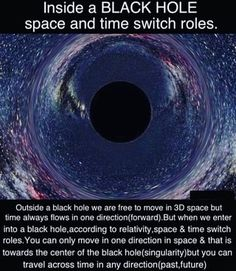 Inside a BLACK HOLE space and time SVWItCh rolles Outside a black hole we are free to move in space but time always flows In one direction(forward). But when we enter into a black hole,according to relativity,space & time switch roles.You can only move Astronomy Facts, Space And Astronomy, Black Hole Singularity, Black Hole Tattoo, Black Hole Theory, Cool Science Facts, Life Science, Black Holes In Space, Space Facts