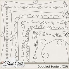 "Doodle Borders {CU} by That Girl  8 doodled borders in PNG format.  All are nearly, but not quite, 12""x12""."