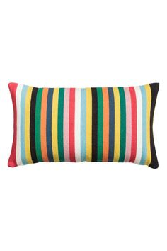 Striped cushion cover: Cushion cover in a cotton weave with a solid colour cotton canvas back and concealed zip.
