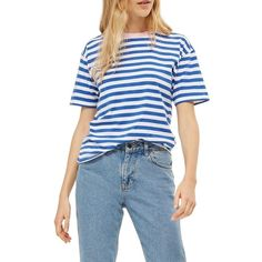 Women's Topshop Contrast Neck Stripe Tee (335 ZAR) ❤ liked on Polyvore featuring tops, t-shirts, blue multi, blue tee, striped tee, striped cotton jersey t shirt, striped t shirt and topshop tops