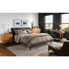 K - like bed and clean design, not in love with blonde wood pieces - Room & Board
