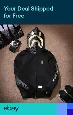 4c969643975a Mens Bape Hoodie Golden Mini Monkey Head Pattern Shark Jaw ape Zipper Jacket