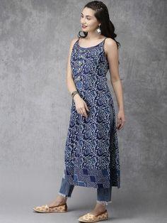 Blue & White Printed Sleeveless A-Line Kurta Simple Kurta Designs, Kurti Neck Designs, Kurta Designs Women, Kurti Designs Party Wear, Dress Designs, Casual Indian Fashion, Indian Fashion Dresses, Indian Designer Outfits, Designer Dresses