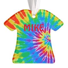 Groovy Tie Dye T-shirt Spiral Rainbow Ornament.  You can personalize this Christmas tree ornament #psychedelic