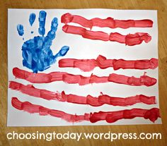 American flag preschool craft -- we'd do the red lines, but kid's handprint would be theirs. Preschool Projects, Daycare Crafts, Classroom Crafts, Toddler Crafts, Preschool Crafts, Projects For Kids, Preschool Activities, Crafts For Kids, Art Projects