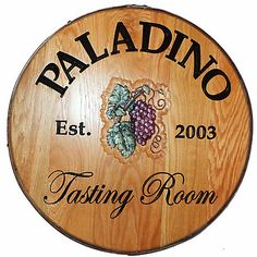 Personalized Reclaimed Wine Barrel Head with Tasting Room and Grapes at Wine Enthusiast - $349.00
