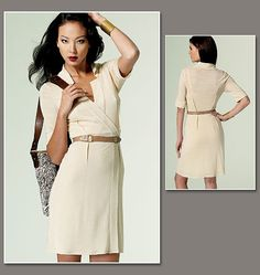 V1285 FABRICS: Dress and Lining: For Two-Way Stretch Knits: Rayon/Spandex, Cotton/Spandex.  Unsuitable for obvious diagonals.
