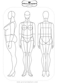 Plus size female Croquis flat template Fashion Figure Templates, Fashion Design Template, Fashion Design Sketches, Fashion Figures, Fashion Models, Illustration Mode, Illustrations, Art Kawaii, Poses References