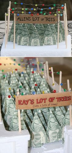 """The display of origami forest is super cute, and these trees made out of dollar bills are a fun way to give """"money gift"""""""