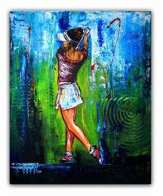 BURGSTALLER ORIGINALGolf Gemälde Bild Golfer Golfspieler Malerei Turnierpreis 67
