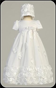 White Tulle Baby Girls Christening Gown w. Ribbon Flowers