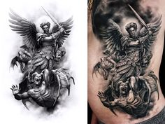 Arch angel by tattooed theory's javier antunez tattoo ideas Angel Warrior Tattoo, Angel Of Death Tattoo, Angel Sleeve Tattoo, Forearm Sleeve Tattoos, Warrior Tattoos, Best Sleeve Tattoos, Angel Tattoo Men, Angels Tattoo, Angel Tattoo Designs