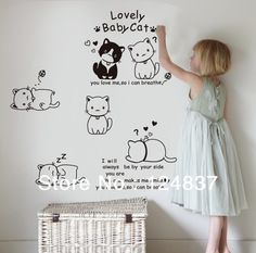 60cm-90cm-Cartoon-sticker-lovely-baby-cat-wallpaper-quote-poster-wall-stickers-home-decoration-child-wall.jpg (676×669)