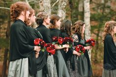 red grey and black wedding colors. Bridesmaids in different dresses. Fall wedding. photo by Ariusphoto.com