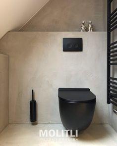 "MOLITLI on Instagram: ""PROJECT | Restyling Toilet/Badkamer.  Helemaal zen de wc afkomen ;-) . . . . . #betonlook #toilet #toiletdecor #toiletrenovation…"" Black White Rooms, Black Toilet, Flat Interior, Interior Design, Guest Toilet, Toilet Room, Bathroom Inspiration, Powder Room, Decoration"