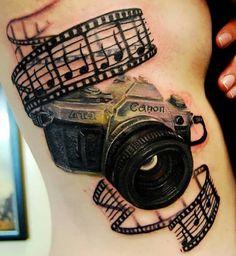 Tattoo photo camera 3D motive - http://tattootodesign.com/tattoo-photo-camera-3d-motive/ | #Tattoo, #Tattooed, #Tattoos