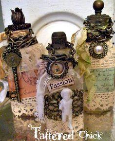 http://www.tatteredchick.net/  altered bottles