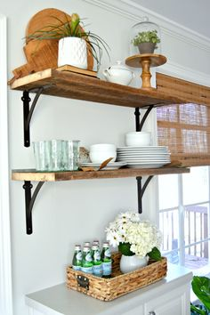 How to add beautiful DIY open shelving in the kitchen for under $50. A great way to add rustic, farmhouse charm instead of cabinets in the kitchen. www.chatfieldcourt.com