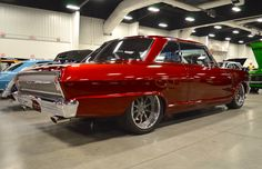 """Can you guess why they call this project """"#TheBrick?"""" Wayne Eden's gorgeous 1964 #Chevy #Nova was built by Florida's #ChassisCrafters and features a striking Hot Hues Burning Brick paint job and hand-built custom dashboard with Dakota Digital gauges. It's powered by an LS1 and rides on Detroit Speed suspension and 18x9/18x10 #Forgeline #ZX3P wheels finished with Gunmetal centers & Polished outers! See more at: http://www.forgeline.com/customer_gallery_view.php?cvk=1943"""