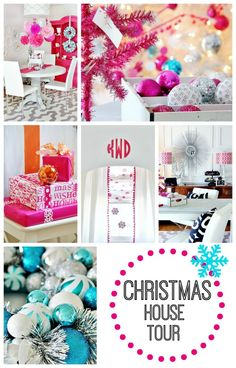 Fun colorful Christmas tour!  Love all the color against the white and great ideas for decorating on a budget.