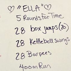 Last Week's Workouts (2/11)