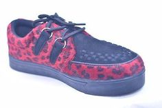 TUK BLACK LEATHER RED LEOPARD CREEPER SNEAKERS # A7440 MENS US 13 EU 46 NOS PUNK