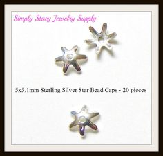 5x5.1mm Sterling Silver Star Bead Caps  20 by StacyJewelrySupply, $4.49