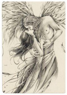 Legendya – Angel and Mermaid – # siren – … – Tattoo Ideas Angel Sketch, Angel Drawing, Fantasy Kunst, Fantasy Art, Art Sketches, Art Drawings, Art Amour, Art Du Croquis, Fairy Coloring