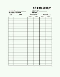 ledger sheet pdf General Ledger Sheet Template | ledger pgs | Pinterest | General ...