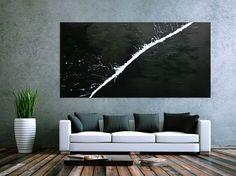 Minimalistisches Acrylgemälde abstrakt moderne Kunst schwarz weiß 100x200cm von xxl-art.de