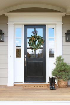light gray exterior, white trim, black door + fixtures | studio mcgee Front Door Paint Colors, Painted Front Doors, Front Door Design, Front Door Decor, Entrance Decor, Front Door With Glass, Entrance Design, Front Door Molding, Front Door Lighting