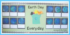 """The globe projects on this """"Earth Day Everyday"""" bulletin board were made using coffee filter art. Underneath their globes, students wrote a pledge to the Earth."""