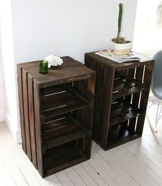 Tall side table with storage pallet project pallet end tables room for the home crate furniture Pallet End Tables, Crate End Tables, Wooden Crate End Table, Wood Table, Diy End Tables, Wooden Chairs, Wooden Crate Shelves, Wood Crates, Wooden Crates Tv Stand
