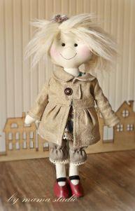 polandhandmade.pl #bymamastudio #doll #softdoll #pippi Lala w płaszczyku - bymama studio