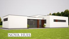 moderne bungalow energieneutraal grote ramen veel licht NOVA-HUIS.nl A50 House Plans, Garage Doors, Patio, Outdoor Decor, Nova, Model, Home Decor, Haus, Home Plans