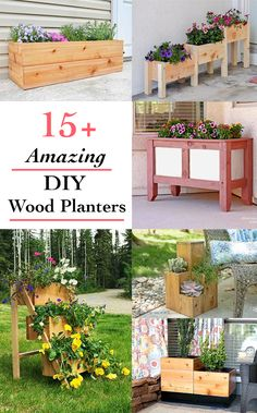 20 Easy and Amazing DIY wooden planter box ideas These DIY wooden planter box ideas and easy to build and will spruce up your curb or backyard! Get lots of inspiration to build your own wooden planters! Wood Projects For Beginners, Beginner Woodworking Projects, Wood Working For Beginners, Woodworking Tips, Woodworking Furniture, Popular Woodworking, Youtube Woodworking, Intarsia Woodworking, Furniture Plans