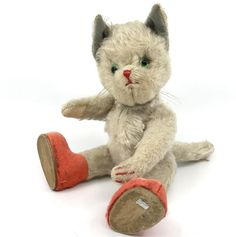 Kersa Germany #Cat Doll Puss n Boots ID Metal Tag Mohair Plush 22cm 9in 1950s Vtg #Kersa AllOccasion
