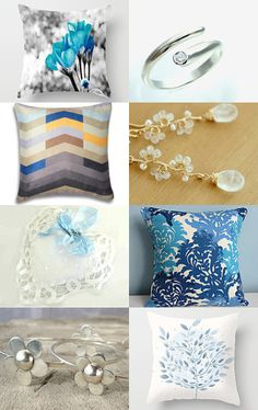 Ocean Blue Pillows 'n Things by Chizuko Takahashi on Etsy--Pinned with TreasuryPin.com