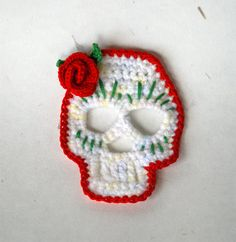 Day of the Dead Sugar Skull Rose Crochet by theMeticulousWhim