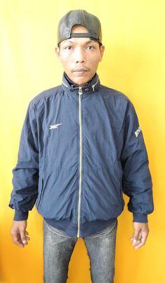 Asics Windbreaker Jacket Vintage Blue Sport Trainer Zipper 90s Hoodie Polyester Jacket (28/3) by InPersona on Etsy