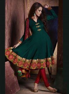 Teal Green Handloom Silk Anarkali Churidar