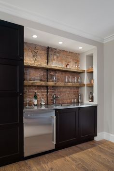 Handsome Shelves For Bar Decorating Ideas in Home Bar Traditional design ideas with Handsome brooklyn brownstone exposed brick floating shelves reclaimed wood shelves Renovations sub zero