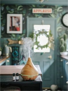 3-powerful-ways-to-bring-nature-indoors-smellacloud-diffuser-essential-oil How To Hang Wallpaper, Wallpaper Ideas, Blue Green Kitchen, Blue Bedroom, Essential Oil Diffuser, Teal Blue, Dining Room, Indoor, Table Decorations
