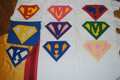 First initial super shirts as party favors