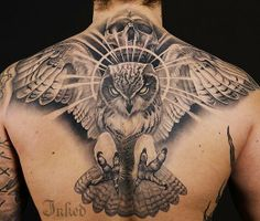 That's quite the intimidating owl by Johan Finné #InkedMagazine