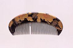 鼈甲台菖蒲皮蒔絵櫛、19世紀
